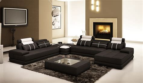 black and white sectional couch divani casa 5005d modern black and white leather sectional