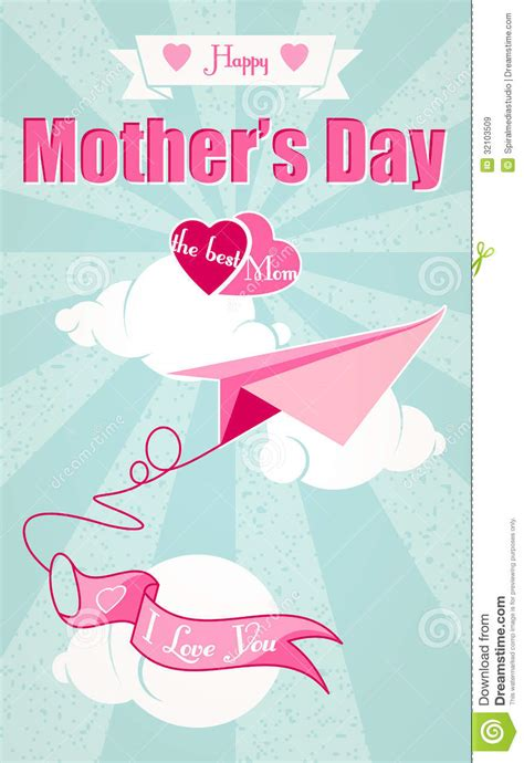 Mothers Day Origami - happy mothers day and origami airplane royalty free stock