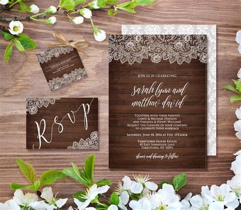 vintage rustic diy wedding invitation template wedding invitation template rustic wood vintage lace diy