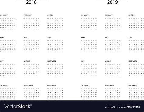 Calendar 2018 2019 Year Template Royalty Free Vector Image 2018 2019 Calendar Template