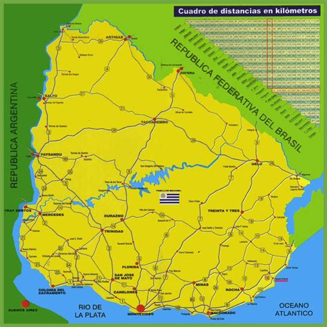 map of uruguay with cities uruguay road map