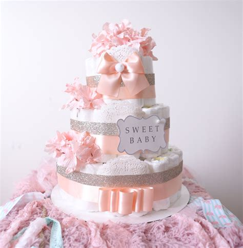 Cake For Baby Shower Centerpiece by Gold Blush Pink Cake For Baby Baby Shower