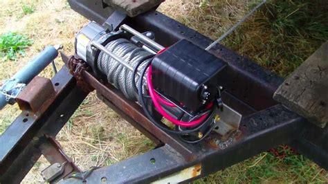 boat winch hook holder electric winch on derby trailer youtube