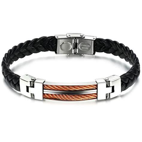 Bracelet homme cuir elements acier cable torsade   BijouxStore   webid:641