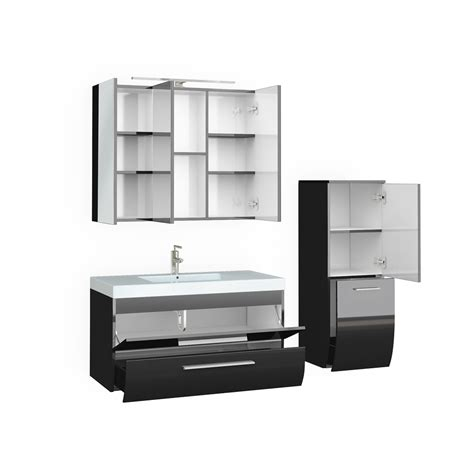 High Gloss Bathroom Furniture Bathroom Furniture Set High Gloss Bathroom Mirror Cabinet Sink Led Anthracite Ebay