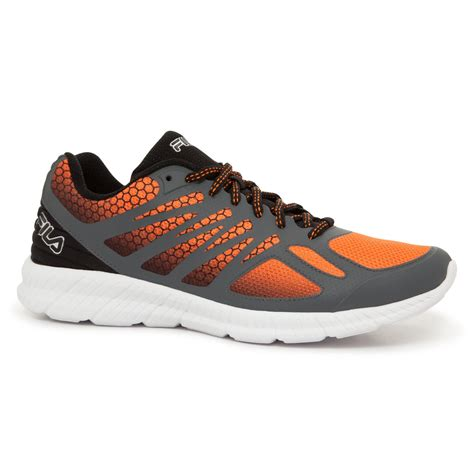 orange athletic shoes fila s memory speedstride orange gray black athletic shoe