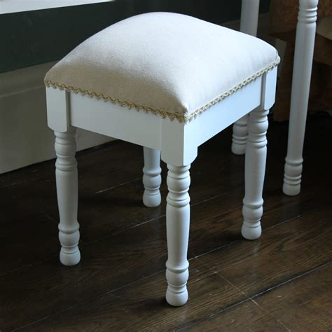 White Bedroom Stools Uk by White Wooden Padded Dressing Table Stool Shabby Vintage