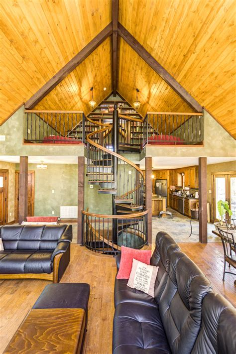 rustic loft spiral staircase rustic family room