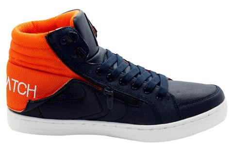 fold sneakers new crosshatch zip fold pu hi top laceup trainers