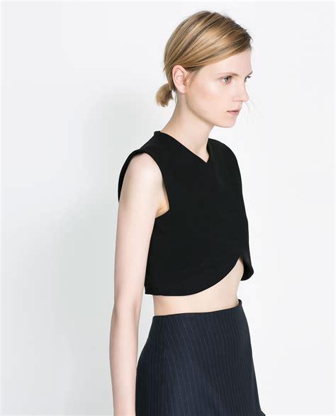 Zara Top zara cropped top in black lyst