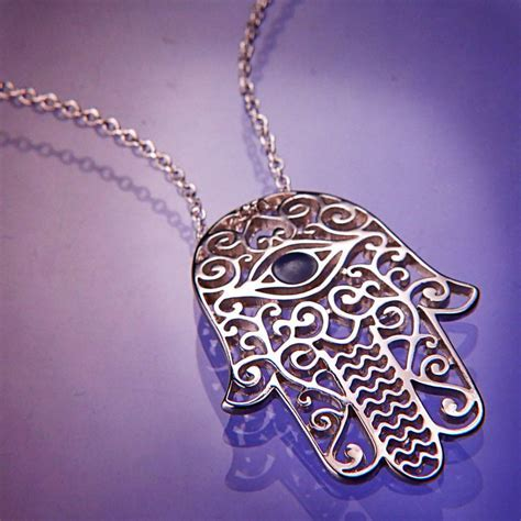 Jewish Jewelry Ladies Hamsa Necklace Sterling Silver