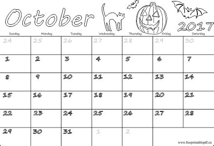 printable october 2017 calendar pdf october 2017 free calendars for kids free printable pdf
