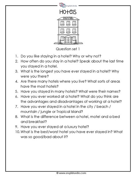 20 Questions Speaking Challenge - Hotels - English Unite