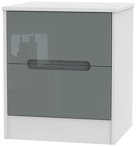 high cabinet with drawers monaco high gloss grey and white bedside cabinet 2