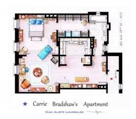 Carrie Bradshaw Apartment Floor Plan Elaborate Floor Plans Of Iconic Tv Show Residences