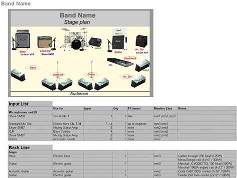 band tech rider template band technical rider template creator stage planning