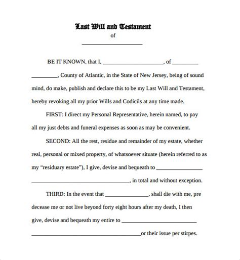 estate will template sle last will and testament form 7 documents in word