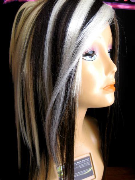 brunette to platinum streaks blonde hair with black streak naked celebs caught