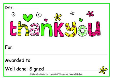 thank you certificate template free thank you award certificate