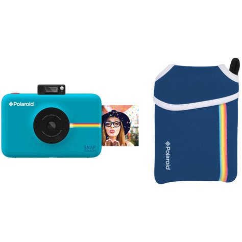 polaroid blue polaroid snap touch instant digital with pouch kit
