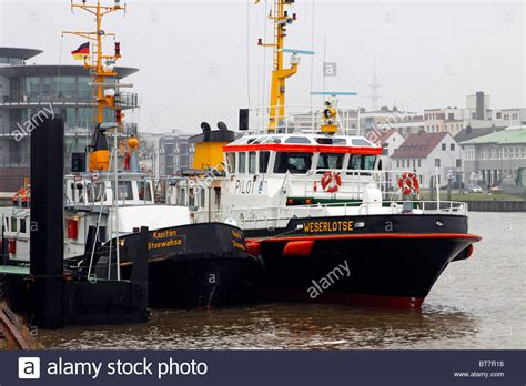 tugboat pilot tugboat and pilot boat in the port of bremerhaven