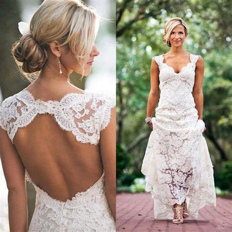 Discount Lace Wedding Dresses by Discount Vintage Lace Wedding Dresses Open Back
