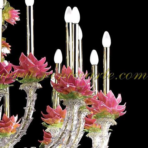 fiori in vetro di murano fiori di loto ladario in vetro di murano rezzonico