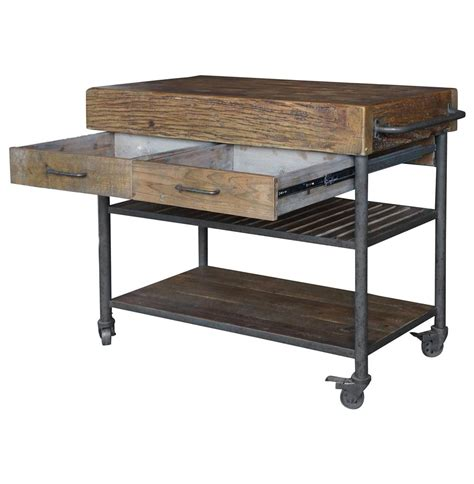 dolly kitchen island cart kershaw rustic chunky reclaimed wood iron drawer
