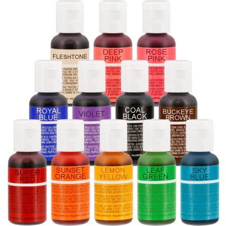 chefmaster food coloring 12 color chefmaster liqua gel cake coloring set 0 7 oz