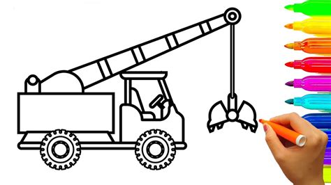 coloring page crane truck 84 how to draw dump truck coloring pages kids learn
