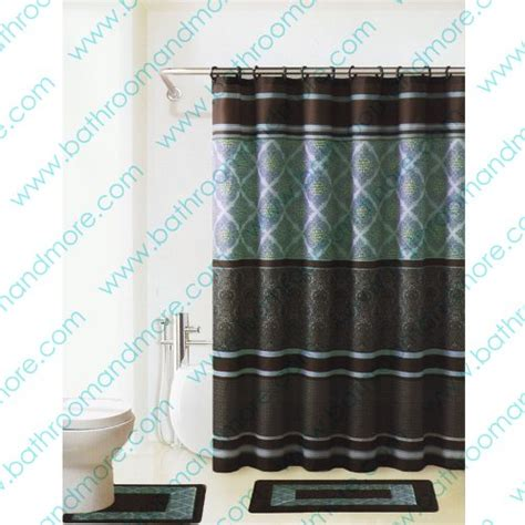 blue and brown bathroom sets galleon brown and blue 15 piece bathroom set 2 rugs