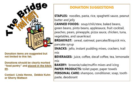 Church Food Pantry List by Bridge Food Pantry Baptist Church Of Pequea