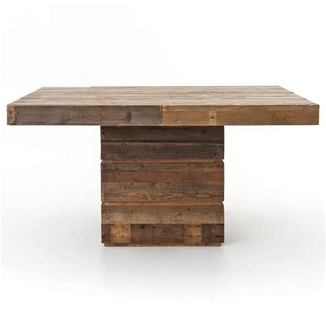 square wood dining table rustic lodge chunky reclaimed wood square dining table