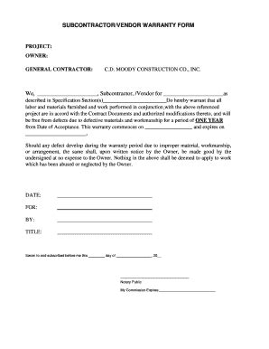 Subcontractor Warranty Form Fill Online Printable Fillable Blank Pdffiller Subcontractor Warranty Form Template