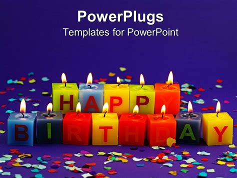 Powerpoint Template Lit Happy Birthday Candles And Rainbow Confetti On Purple Background 15647 Birthday Powerpoint Templates For Mac