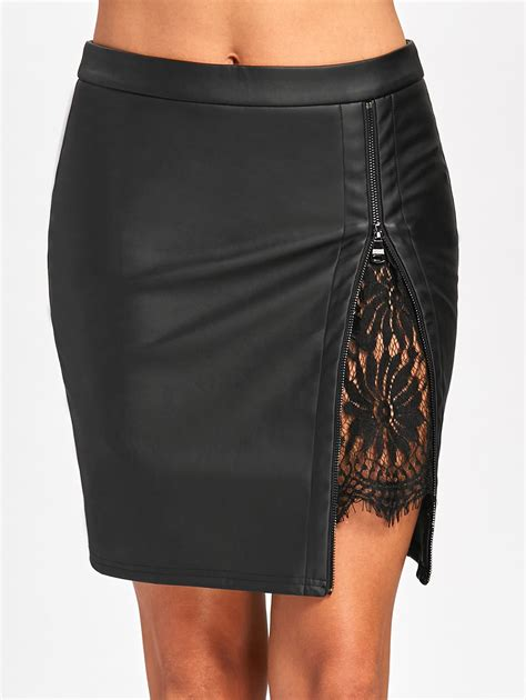 lace insert fitted faux leather skirt in black 2xl
