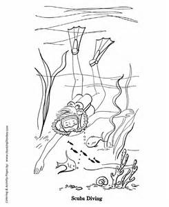 Diver Colouring Pages Page 2 sketch template