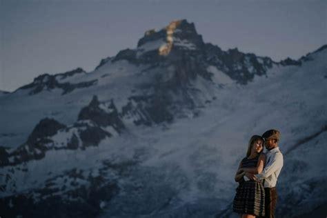mount washington boat wedding stylish mountain engagement at mount rainier national park