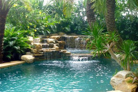 waterfall  tropical garden tropical pool miami