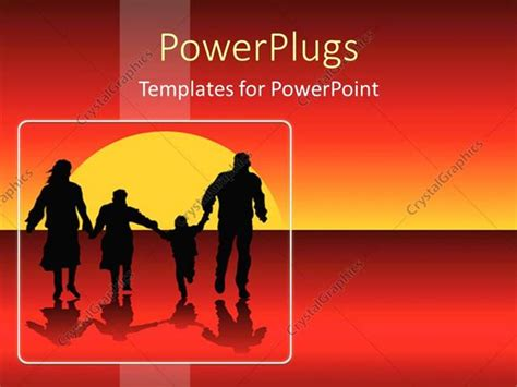 Powerpoint Template Happy Family Silhouettes Running Into Powerpoint Templates Family