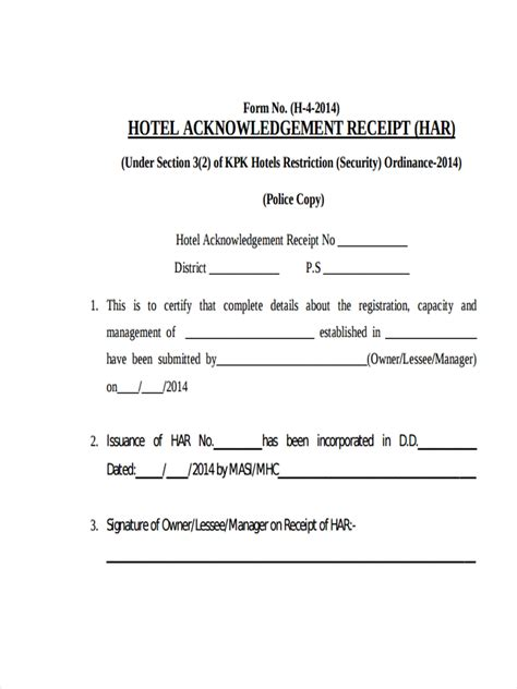 8 Hotel Receipt Exles Sles Pdf Word Pages Acknowledgement Receipt Template