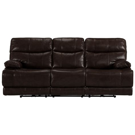 Vinyl Leather Sofa City Furniture Liam Brown Leather Vinyl Reclining Sofa
