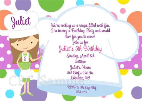 Cooking Party Invitation Baking Birthday Invitations Pered Chef Invitation Template