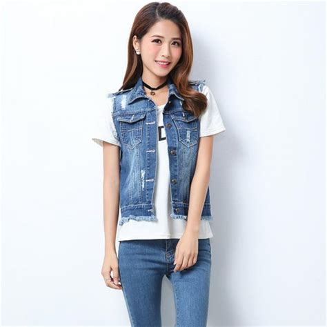 Hq 15019 Buttoned Casual Top buy high quality fashion womens denim vests autumn sleeveless ripped buttons tassel casual