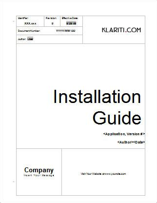 installation guide template instant download