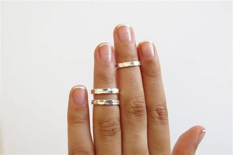 silver knuckle ring silver stacking rings silver shiny