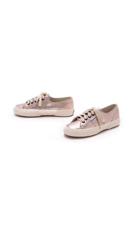 metallic gold sneakers lyst superga cotu metallic croc sneakers gold in pink