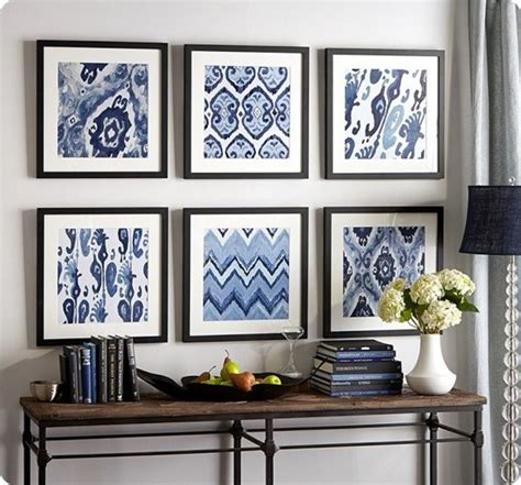 Pottery Barn Dining Room framed fabric makes for cheap wall art