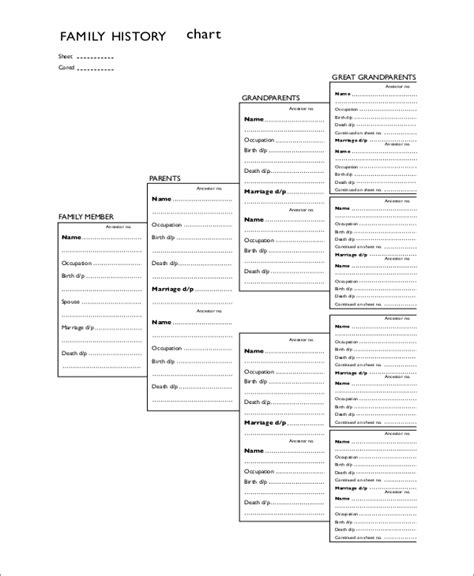 printable family tree charts beautiful family history template gallery exle resume