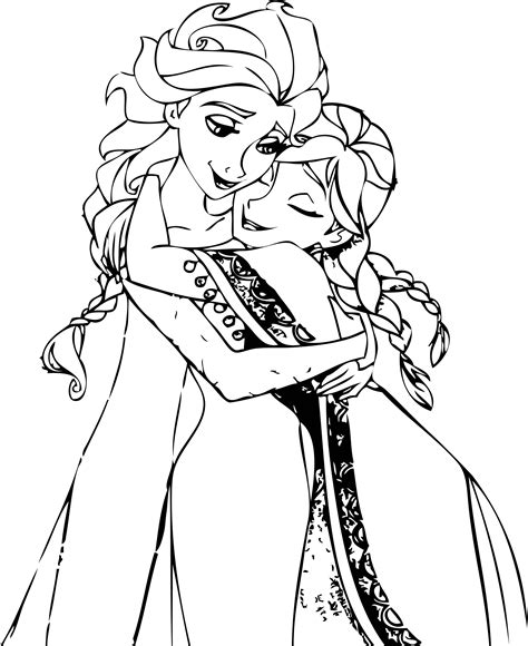 elsa and anna hug coloring pages wecoloringpage
